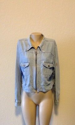 Vintage Women's Betty Boop Official Blue Jean Jacket Zip Up Size Large