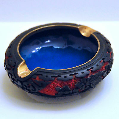 Chinese Carved Red/BlackCinnabar Lacquer Ashtray, Blue Enamel, Over Brass