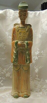 Chinese  Carved Solid Wood Figure of an Oriental Man 18.5 INCHES TALL