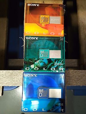 Lot of 3 Sony MDW74CRL Mini Disc Color Shock Absorbing Recordable Media