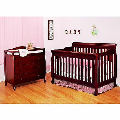 Baby Crib Diaper Changing Table Drawer Set 4-1 Convertible Bed Cherry Pine Wood