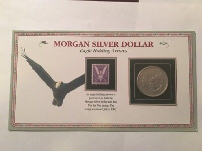 MORGAN SILVER DOLLAR with 3cent STAMP
