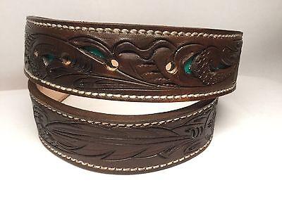 Sz 23 Floral Tooled Kids Western Leather Belt Turquoise Inlay Tool Rodeo LR