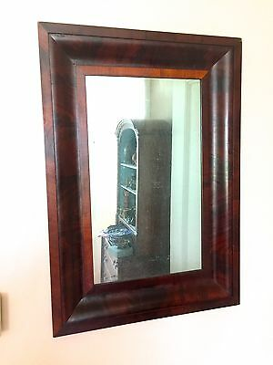 Antique Victorian Empire Flame Mahogany OGEE Framed Mirror