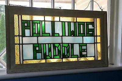 Antique Arts & Crafts Stained Leaded Glass Window with words