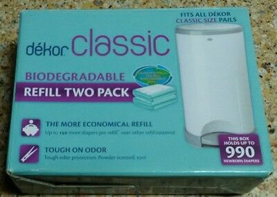 New Dekor Classic Refill Two (2) Pack Baby Diapers Trash Can Disposal best price