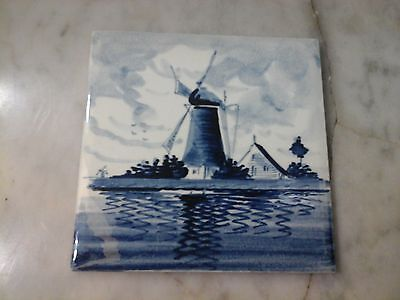 "Vintage 4"" × 4"" Delft Tile Blue Windmill/Farm Hand Painted Marked HollandBelgium"
