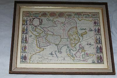 Antique Map of Asia Framed Beautiful Old Cartographer's Map Beautiful China Indo