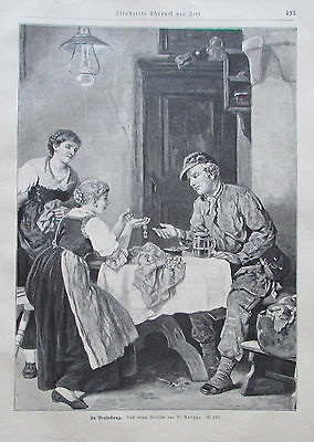 1897 Roegge: In Versuchung - alter Druck old print