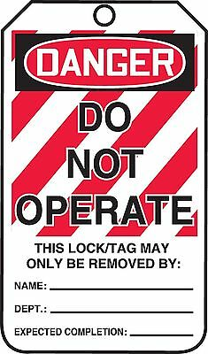 "Accuform Signs MLT400CTP Lockout Tag Legend ""DANGER DO NOT OPERATE"" 5.75"" Len..."