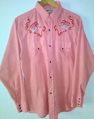 COWBOY JOE Atlantic Westerner PEARL Snap Red/Silver Embroidery Shirt Men's VTG L