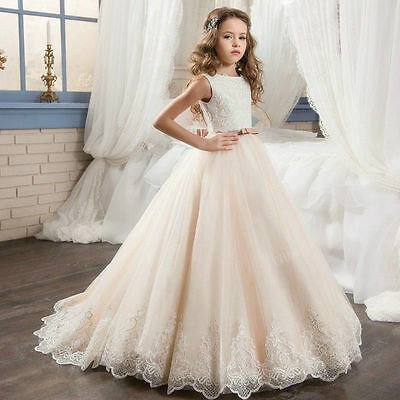 A-LINE Long Applique Communion Pageant Princess Birthday Party Flower Girl Dress