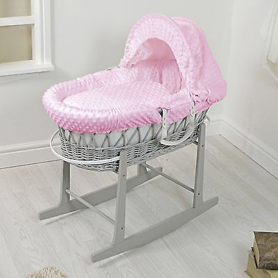 New 4Baby Grey Wicker / Pink Dimple Padded Baby Moses Basket & Rocking Stand1