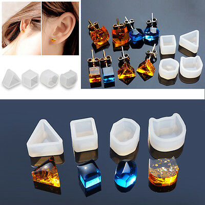 4 x Silicone Earring Ear Stud Mold Mould Jewelry Making Resin Casting Craft Tool