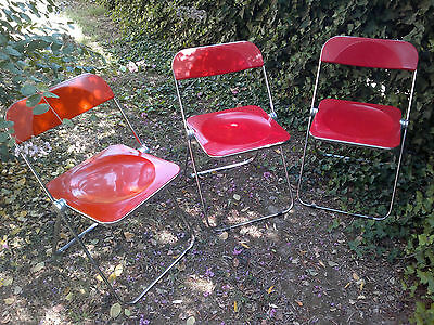 '70s Giancarlo Piretti Anonima Castelli Table Design Red Abs Sedie Seats Plano