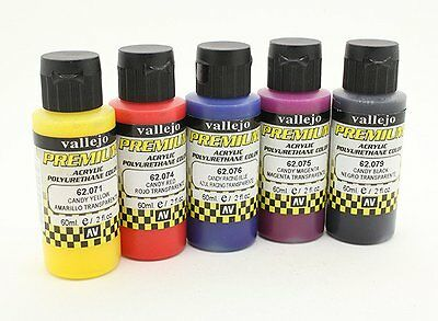 Vallejo Premium Color Acrylic Paint - Candy Color Selection (5 x 60ml) airbrush