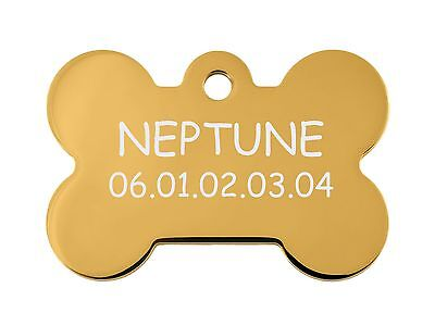 medaille gravee chien ou chat - modele grand os neptune - or
