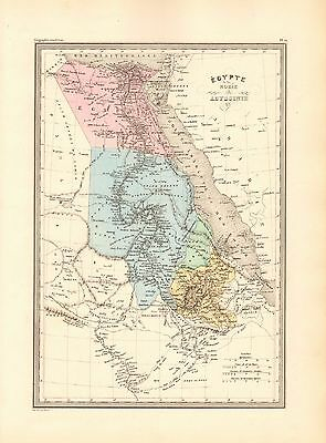 1880 Ca ANTIQUE MAP- MALTE-BRUN- EGYPT, NUBIA AND ABYSSINIA