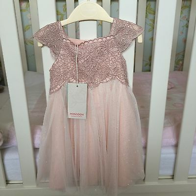 Monsoon Baby Estella Sparkle Dress Pink 3-6 Months. New With Tags!