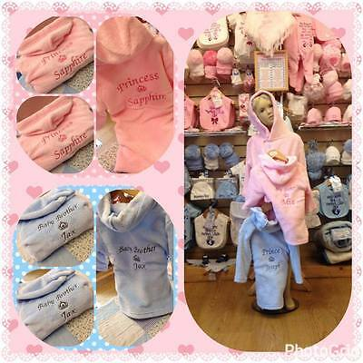 12-18 months PERSONALISED dressing  gown robe PINK sister princess flower girl