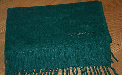 Vintage Burberry cashmere scarf racing green Burberrys' of London