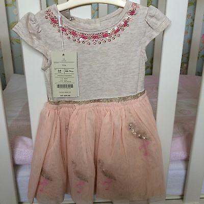 3-6 Month Baby Girl Monsoon Disco Party Dress, BNWT! Pink sequin Flamingo detail