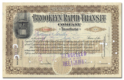 Brooklyn Rapid Transit Company Stock Certificate