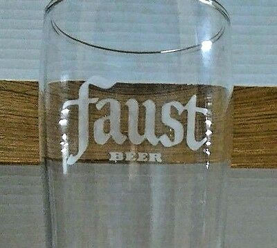 2 Two FAUST BREWING etched logo Beer Glasses keg draft FREE SHIPPING