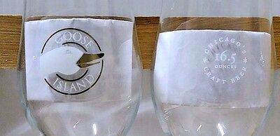 2 Two GOOSE ISLAND BEER CO stemware logo Beer Glasses keg draft FREE SHIPPING