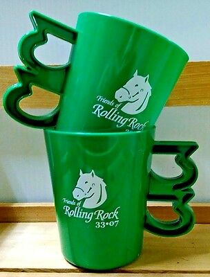 2 two ROLLING ROCK ALE beer cups draft keg pub FREE SHIPPING