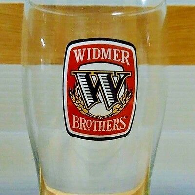 2 Two WIDMER BREWING red logo Beer Glasses keg draft FREE SHIPPING