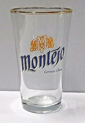 2 Two MONTEJO Cerveza Clara 16oz Gold Rim Beer Glasses pint keg draft pub