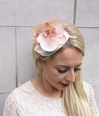 Peach Blush Pink Silver Orchid Flower Fascinator Net Hair Headband Races 3711