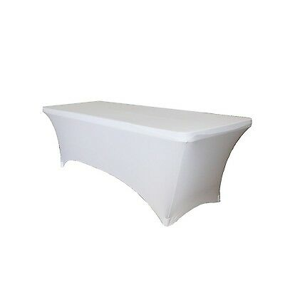 Fitted Spandex Wedding Table Cover 8 ft feet Rectangular Stretch Tablecloth b...