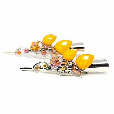 Pair of Metal Hair Claw Clip Rhinestones Crystal Hairpin Elegant Jeweled yellow