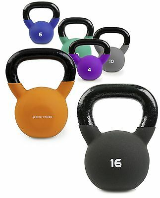 BodyPower™ Neoprene Covered Kettlebell Weights - Select 4kg to 20kg - Cast Iron