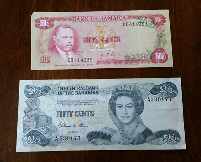 Central bank bahamas 1/2 half dollar Bank of Jamaica 50 cents currency notes lot