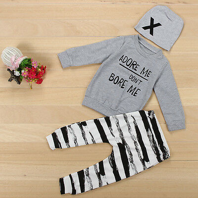 Newborn Kids Outfits Clothes Girl Boy T-Shirt Tops+Stripe Pants Trousers+Hat