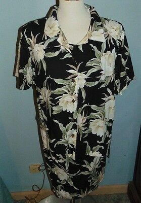 27596cbea4ee7 Iolani Hawaiian Dress XL and Overblouse L Vintage Black White Floral
