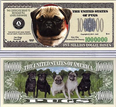 The Pug - Dog Series Million Dollar Novelty Money