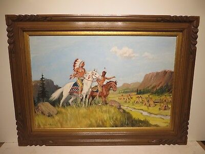 """20x30 org. 1970 oil painting by Fred Windsor """"Western Indian Village"""" Montana"""