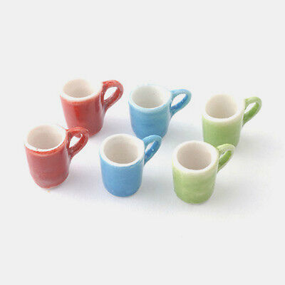 Dolls House Miniature:  Set of 6 Coloured Mugs :  in 12th scale
