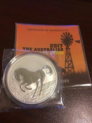 2017 Australian Stock Horse 1 Oz Silver Coin 999 with COA Perth Mint