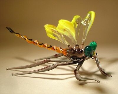 "Blown Glass ""Murano"" Figurine Gorgeous Yellow with Green Eyes DRAGONFLY"