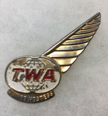 TWA Airline Junior Hostess Metal Pin Vintage Airlines 17-1832F