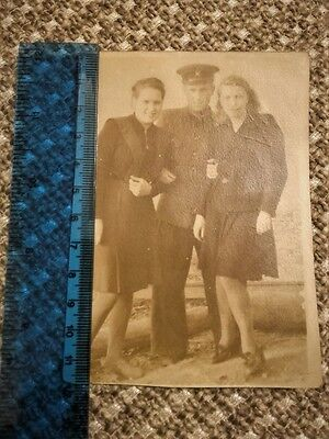 Photo of girls and a guy in military uniform 1943. Russia