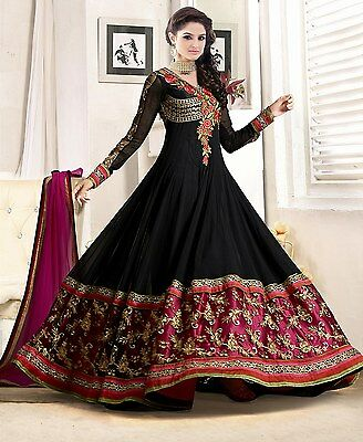 Indian Georgette Embroidery  anarkali Ethnic Traditional Wedding suit