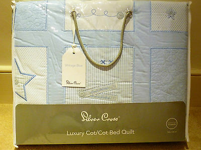 Silvercross Vintage Blue Cot Quilt (Pale blue & White)-still bagged - never used