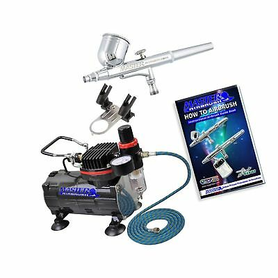 Master Airbrush Multi-purpose Gravity Feed Dual-action Airbrush Kit with 6 Fo...
