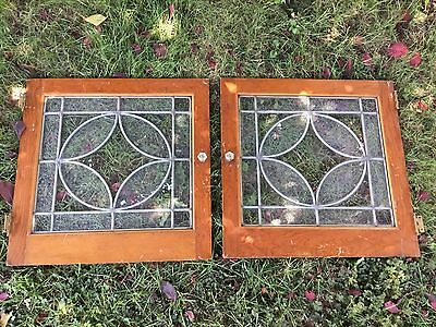 Pair Antique Oak Cabinet Doors Leaded Stained Glass Windows Farmhouse